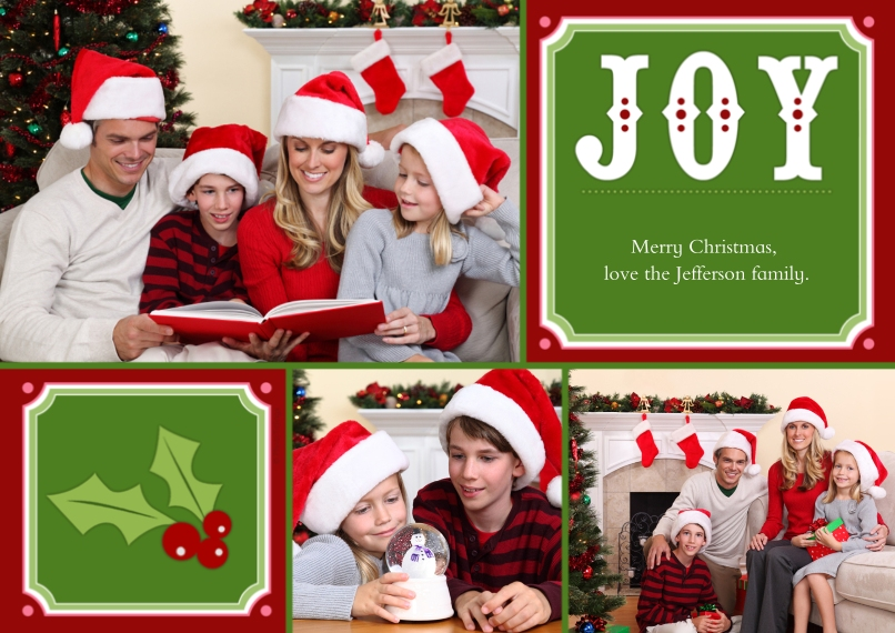 Christmas Photo Cards 5x7 Cards, Standard Cardstock 85lb, Card & Stationery -Joy + Christmas Holly