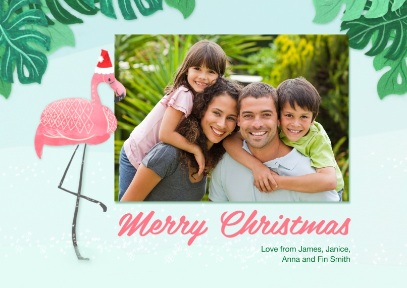 Fun & Festive 5x7 Cards, Premium Cardstock 120lb with Rounded Corners, Card & Stationery -Tropical Flamingo Merry Christmas by Hallmark