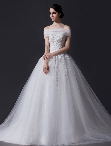 Milanoo Ivory A-line Strapless Sequin Chapel Train Brides Wedding Dress