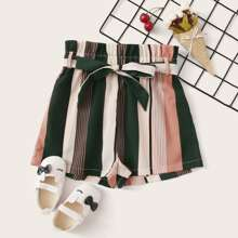 Girls Paperbag Waist Colorblock Striped Shorts