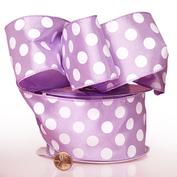 1 1/2 X 25 Yards Silk Lavender Jumbo Dots Wired Satin Ribbon by Ribbons.com