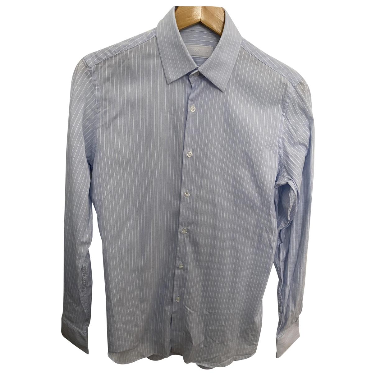 Prada \N Blue Cotton Shirts for Men 38 EU (tour de cou / collar)
