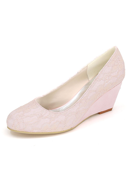 Milanoo White Wedding Shoes Lace Wedding Guest Shoes Round Toe Slip On Mother Shoes