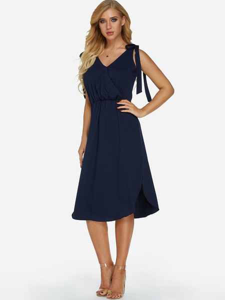 Yoins Navy Self-tie Design V-neck Sleeveless Stretch Waistband Slit Hem Dress