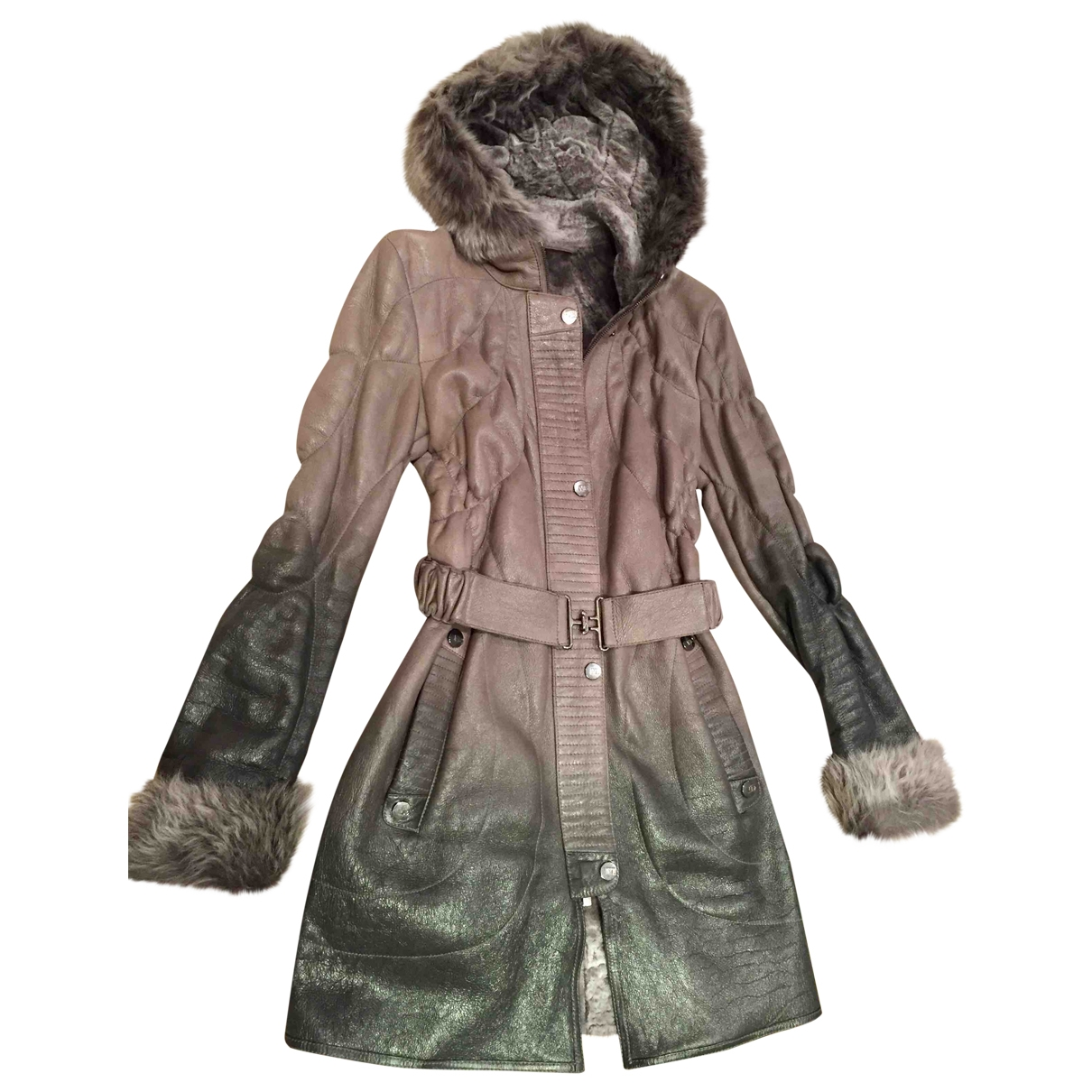 Non Signé / Unsigned \N Grey Leather coat for Women 38 FR