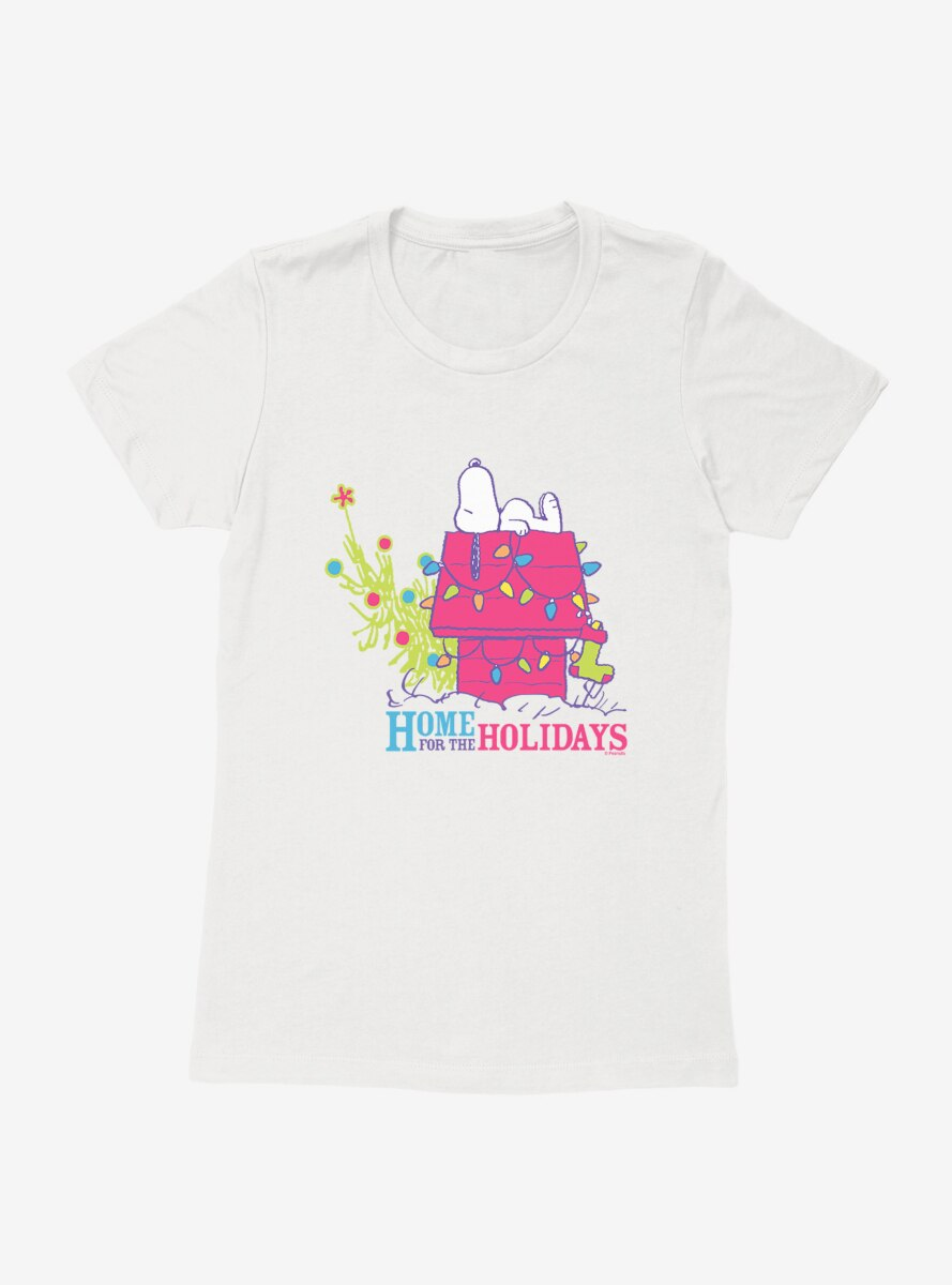 Peanuts Retro Pop Snoopy Home For The Holidays Womens T-Shirt