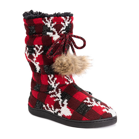 Muk Luks Gladys Womens Bootie Slippers, X-large , Red