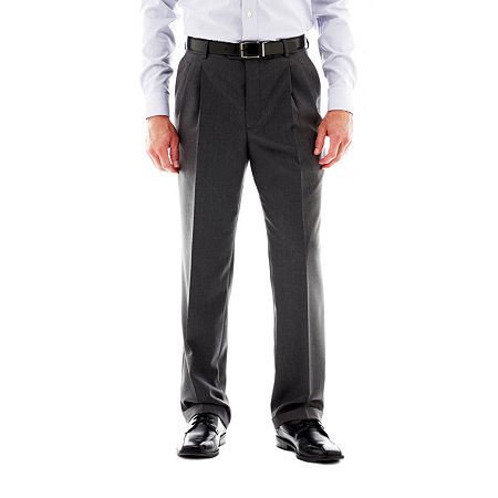 Stafford Travel Pleated Suit Pants - Classic, 40 32, Gray