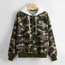 Zip Up Slogan Graphic Drawstring Hooded Camo Jacket