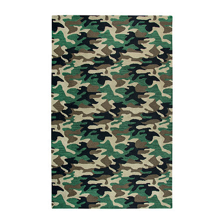 Rizzy Home Play Day Collection Kato Hand-Tufted Comouflage Rug, One Size , Green