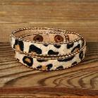 Fur Leopard Printed Button Layered Adjustable Bracelet