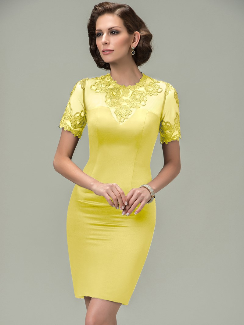 Ericdress Appliques Short Sleeves Short Mother of the Bride Dress