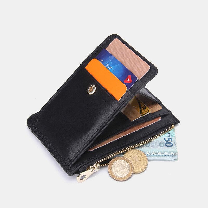 Men Genuine Leather RFID Anti-theft Multi-card Slots Retro Coin Purse Wallet