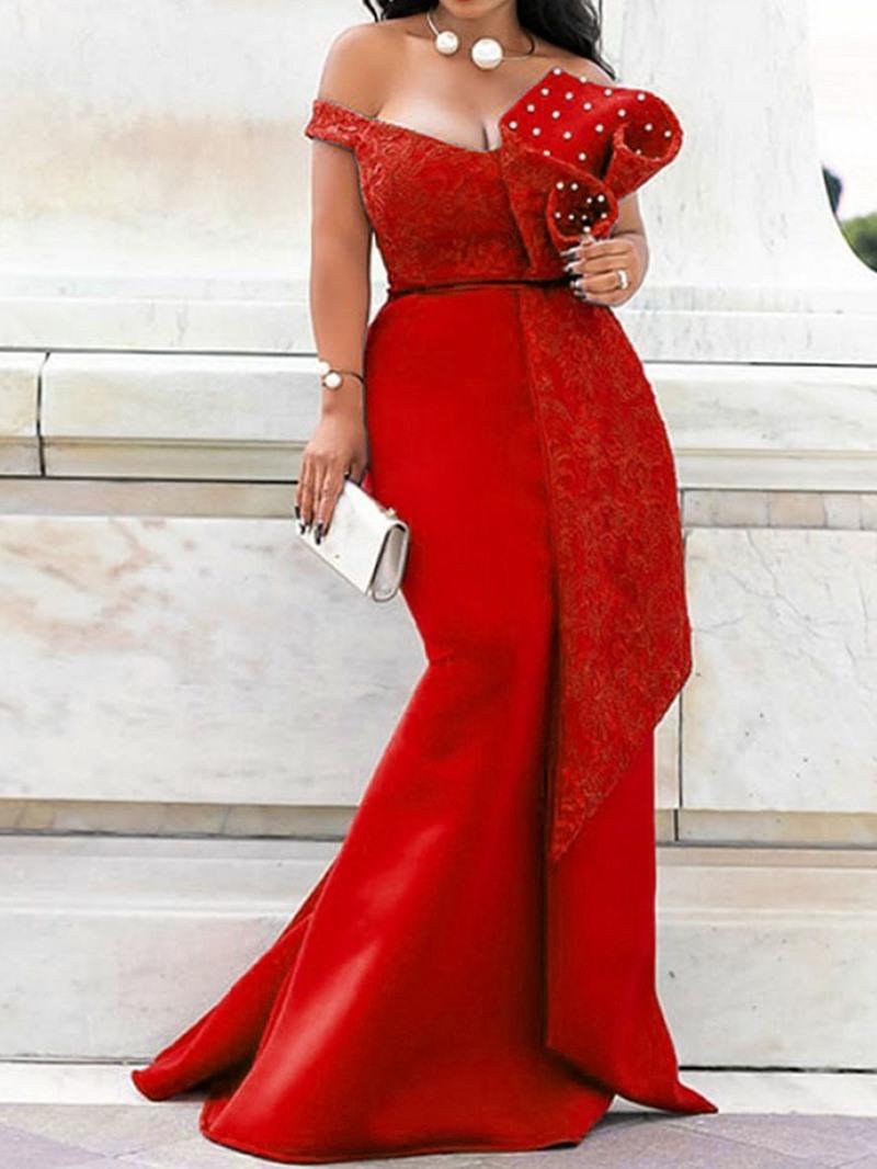 Ericdress Short Sleeve Floor-Length Bead Dress Pullover Dress