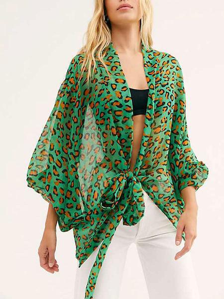 Milanoo Sheer Blouse Polka Dot Long Sleeves Kimono