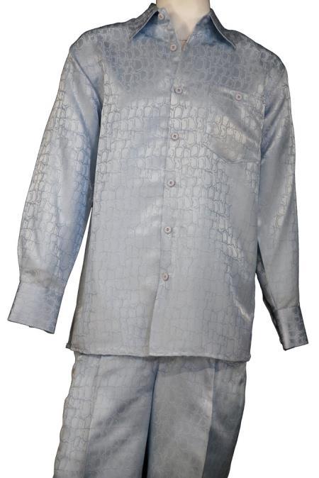 Mens Crocodilian Scale Button Fastening Walking Suit