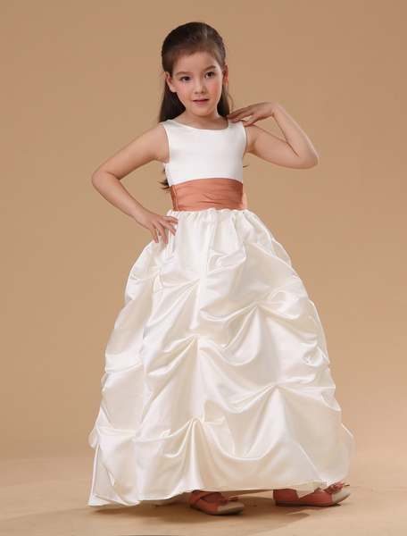 Milanoo White Sleeveless Satin Flower Girl Dress