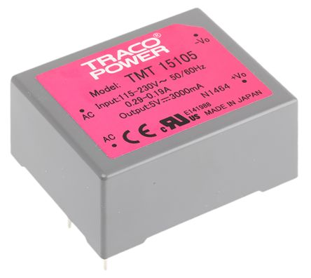 TRACOPOWER , 15W Embedded Switch Mode Power Supply SMPS, 5V dc, Encapsulated, Medical Approved