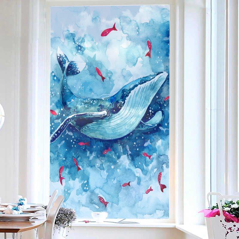 Cartoon Blue Whale Painted Window Film No-glue Glass Static Sticker