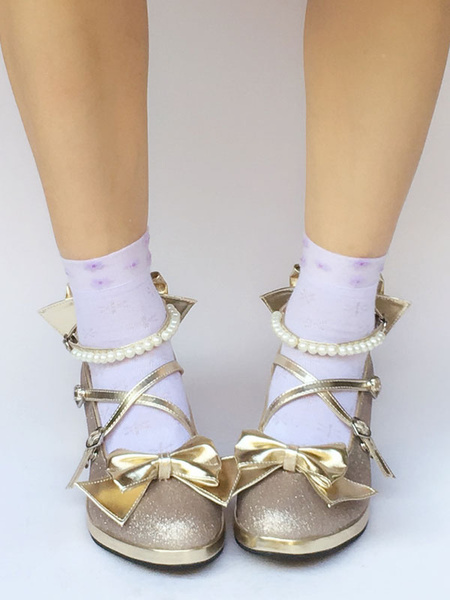 Milanoo Gold Lolita Shoes Pearl Ankle Strap Bow Cross Strap Chunky Heels For Lolita