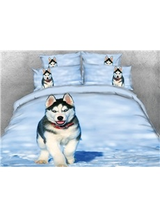 Vivilinen 3D Husky with Red Necklace in the Snow Printed 4-Piece Bedding Sets/Duvet Covers