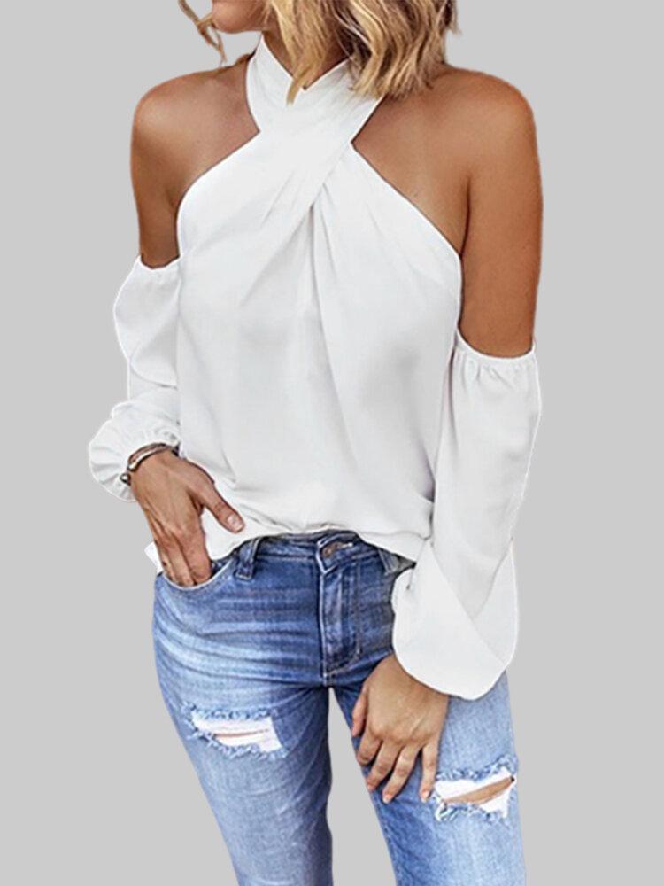 Cold Shoulder Solid Color Plus Size Blouse