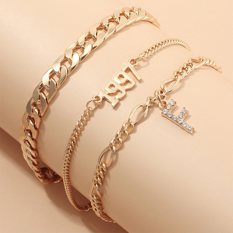 Vintage Thick Chain Rhinestone F Letter Pendant Bracelet Metal Geometric 1997 Years Multi-layer Bracelet