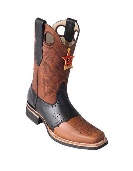 Los Altos Square Toe Boots Honey & Black Saddle Rubber Sole Handmade