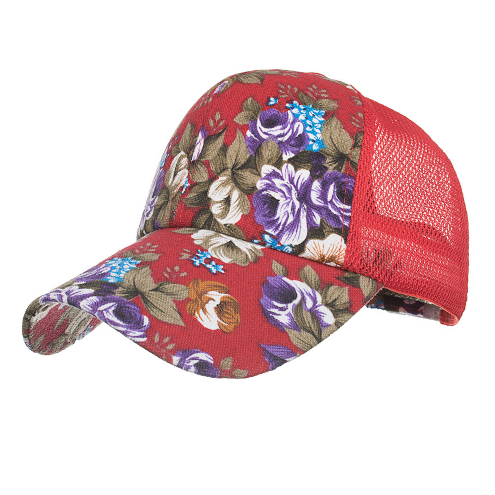 Women Summer Vintage Fashion Cap Printing Mesh Baseball Cap Outdoor Sports Sun Hat