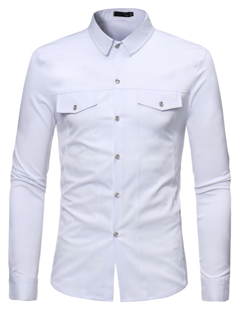 Ericdress Plain Lapel Button Men's Casual Shirts