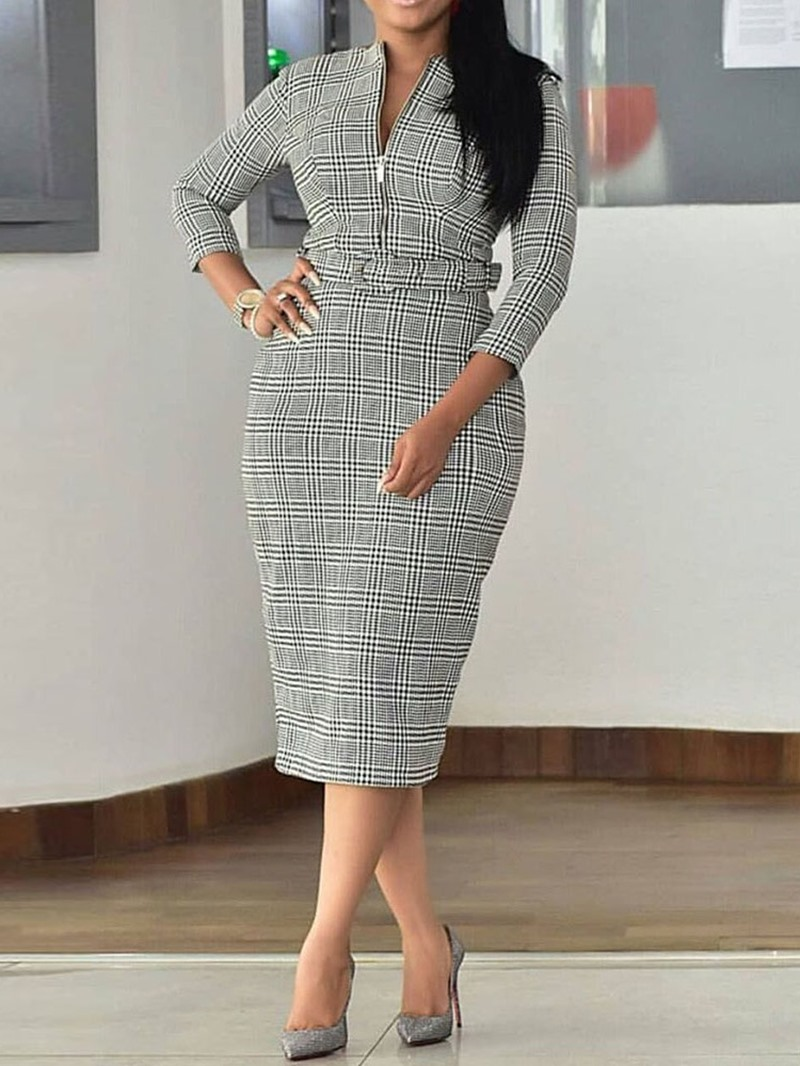 Ericdress Print Three-Quarter Sleeve Round Neck Office Lady Dress