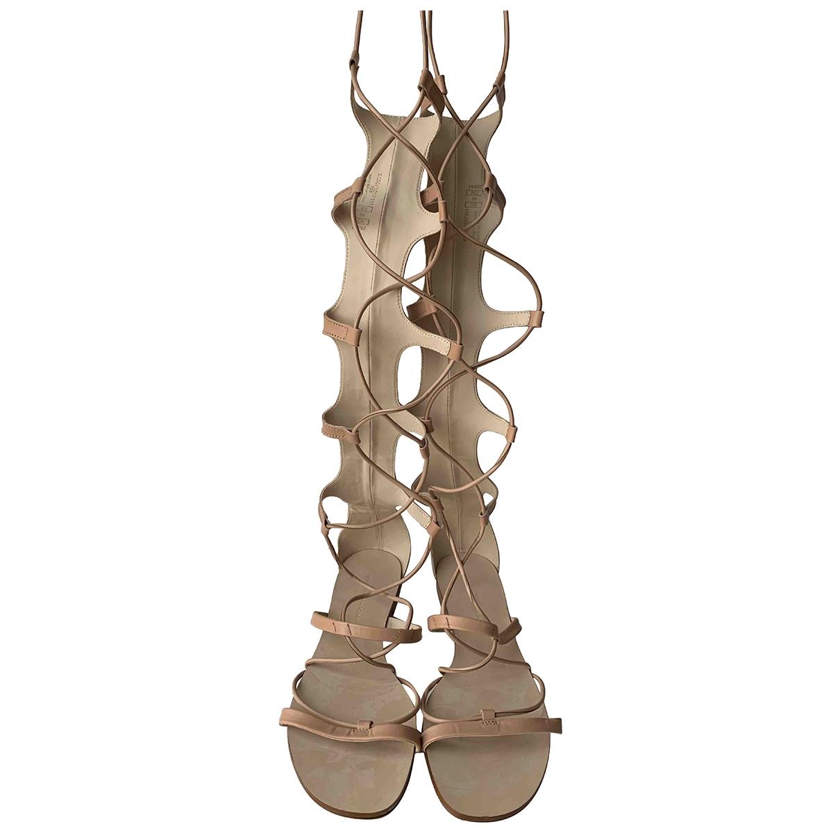Zara \N Beige Leather Sandals for Women 39 EU