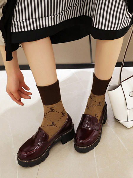 Milanoo Lolita Footwear Burgundy PU Leather Puppy Heel Lolita Pumps