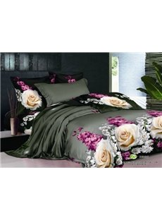 3D Rose and Hyacinth Printed Cotton 4-Piece Black Bedding Sets