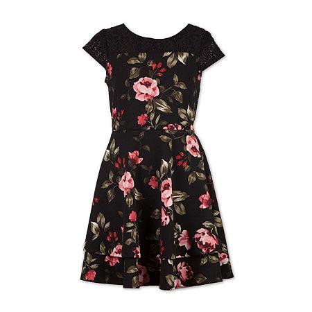 Speechless Big Girls Short Cap Sleeve Fit & Flare Dress, 16 , Black