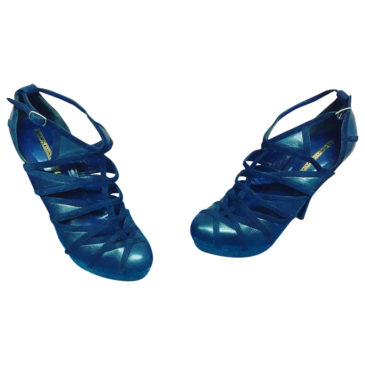 Non Sign?? / Unsigned \N Blue Leather Heels for Women 39 EU