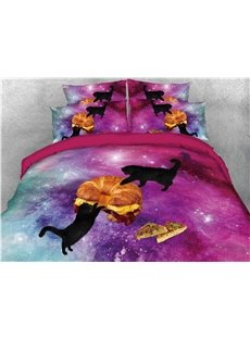 Black Cats and Pizza Food Printed Red Galaxy 4-Piece 3D Bedding Sets/Duvet Covers