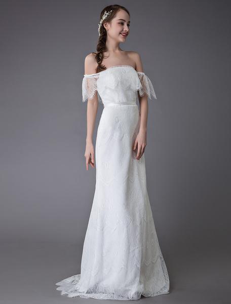 Milanoo Lace Wedding Dresses Boho Off Shoulder Bridal Dress Summer Beach Wedding Gowns