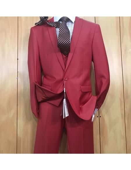 Mens 1 button style Peak Lapel Vested Slim fitted Burgundy Suit