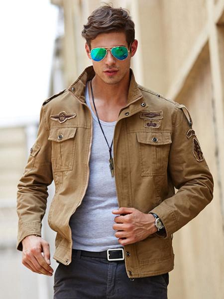 Milanoo Men\\'s Quality Military Jacket Loose Top Quality Cotton Jacket