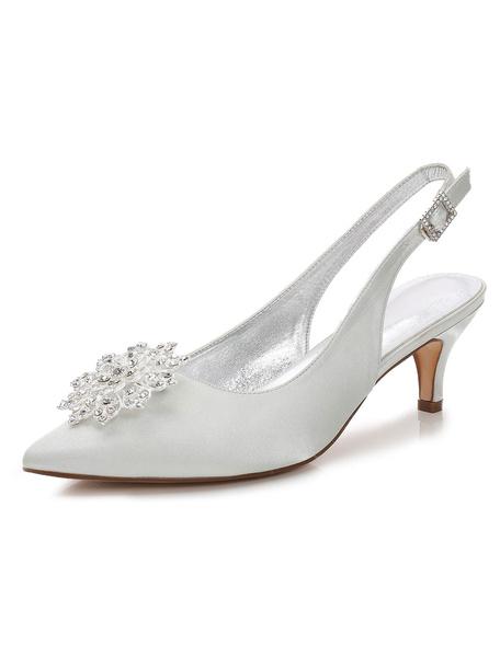 Milanoo Deep Blue Mother Shoes Satin Pointed Toe Rhinestones Slingbacks Wedding Shoes Kitten Heels