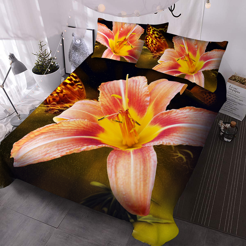 Beautiful Lily 3D Floral Lightweight Comforter 3 Pieces Microfiber No-Fading Comforter Set with 2 Pillowcases