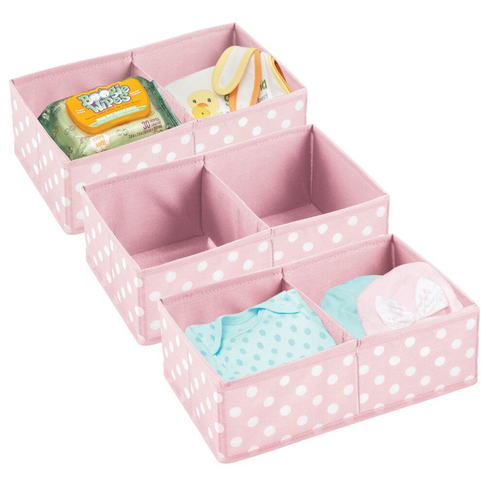 Baby + Kids Polka Dot Fabric Organizer Bin in Pink/White, Set of 3, by mDesign