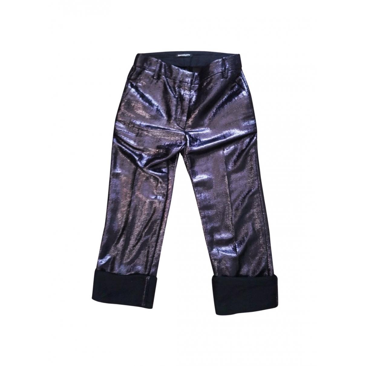 Balmain \N Purple Silk Trousers for Women 36 FR