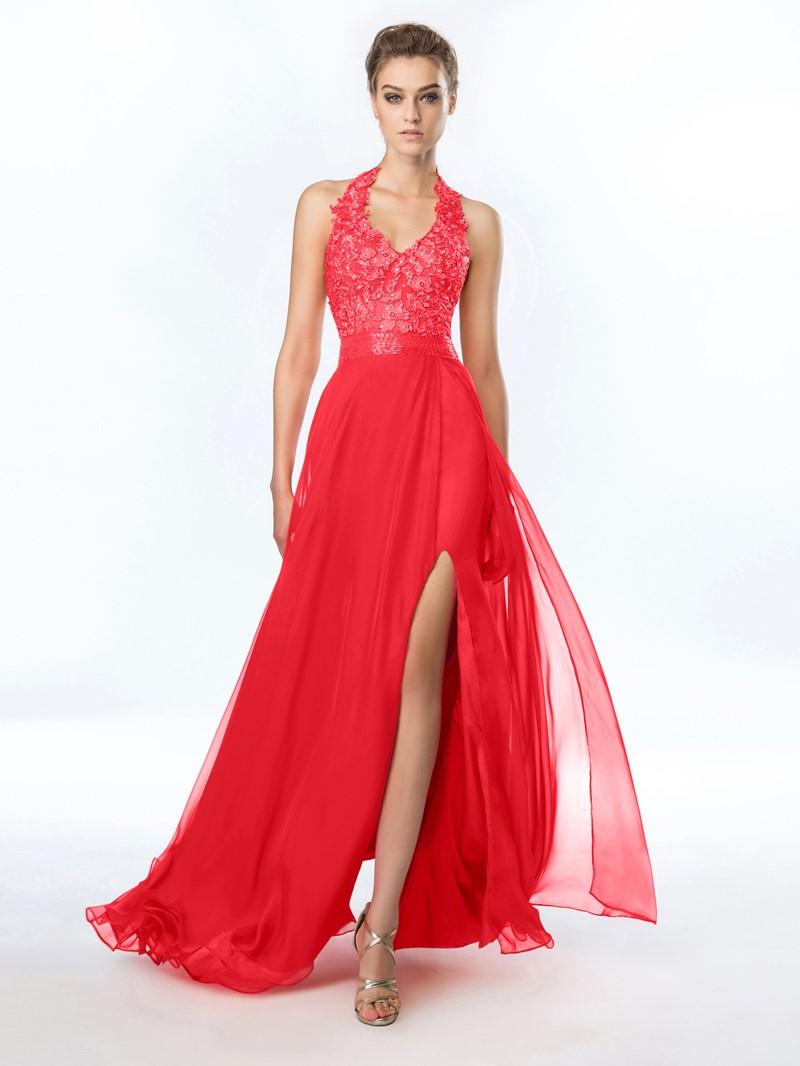 Ericdress Halter Appliques Beading Split-Front Prom Dress