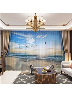 3D Sea and Seagull Printed Decorative 2 Panels Custom Sheer