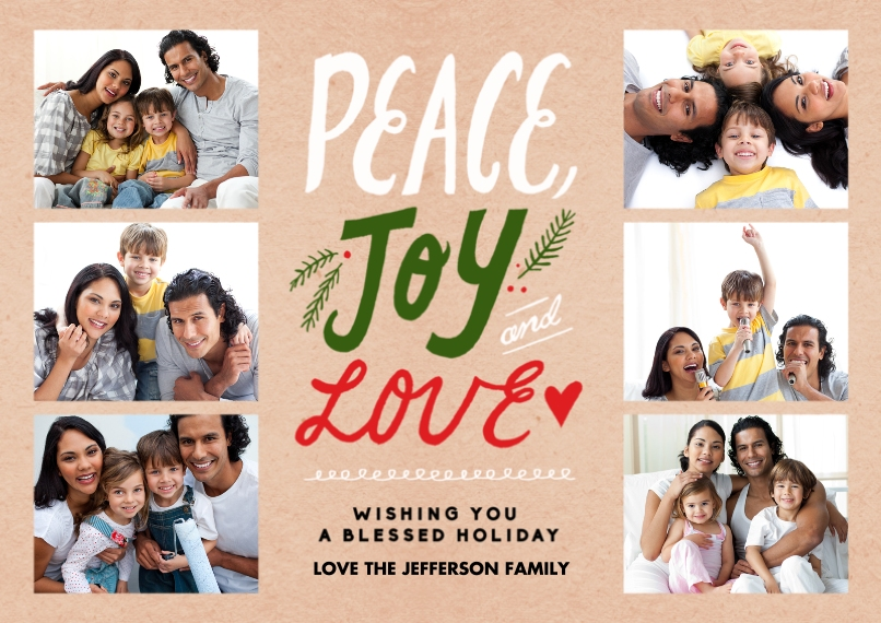 Holiday Photo Cards Flat Matte Photo Paper Cards with Envelopes, 5x7, Card & Stationery -Peace Joy Love