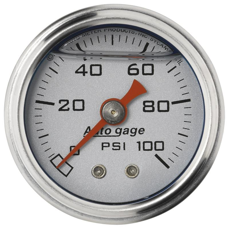 AutoMeter GAUGE; PRESS; 1.5in. DIRECT MNT; 100PSI; LIQUID FILLED MECH; SLVR; 1/8in. NPTF M