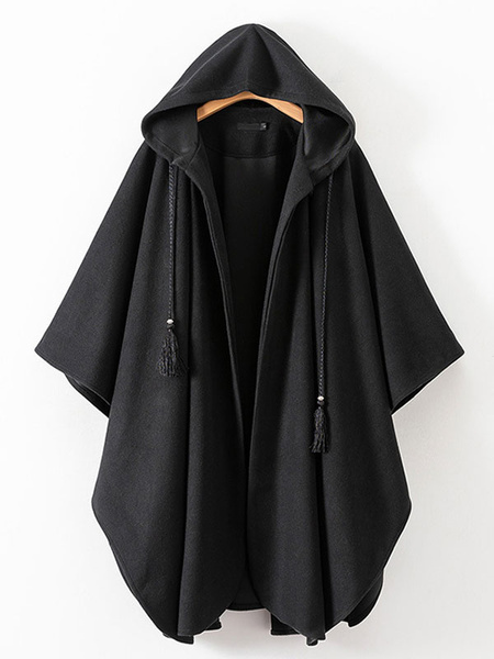 Milanoo Women Poncho Hooded Black Poncho Oversized Tassels Cape