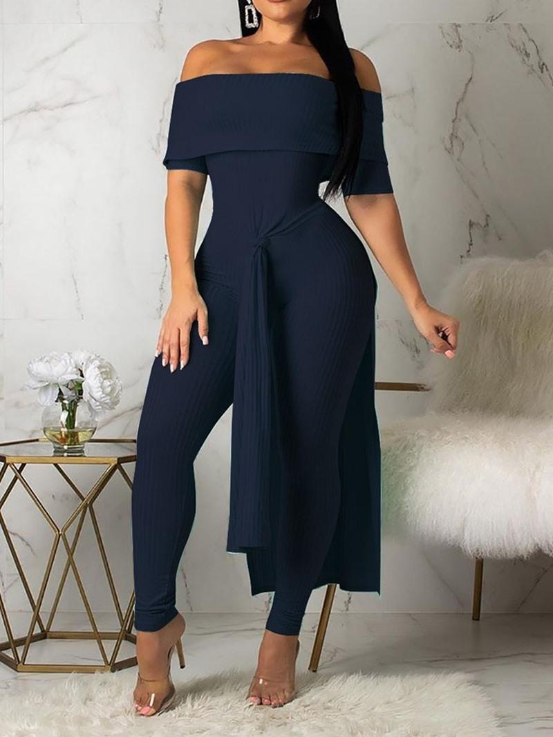 Ericdress Overlay Embellished Plain Culottes Skinny Off Shoulder Jumpsuit